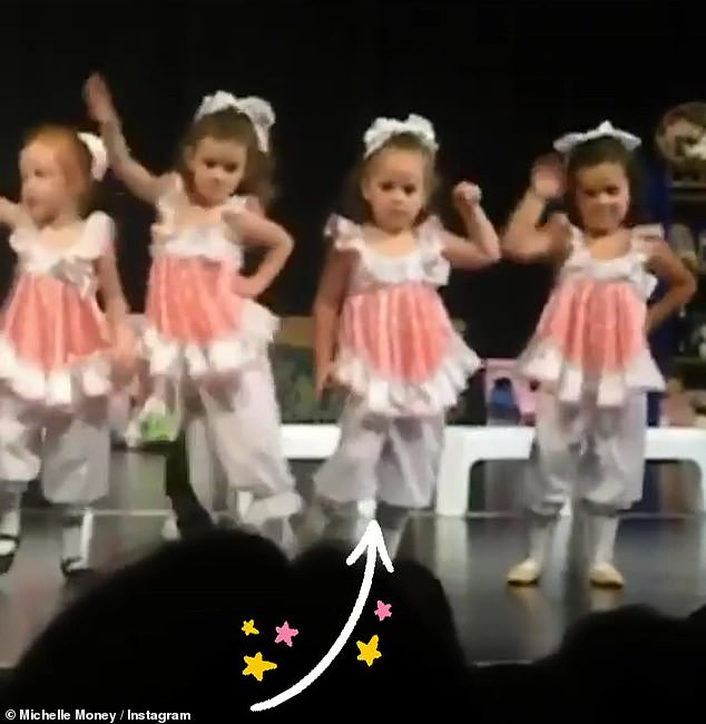 Too cute: her daughter was barely recognizable in an adorable video of an elementary school musical where Brielle interpreted Be Our Guest from Beauty And The Beast on stage with a troop of her classmates