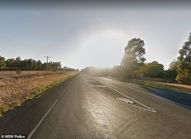 Emergency services were called to the Golden Highway at Dunedoo in central-west New South Wales (pictured) at about 5pm on Wednesday on March 18
