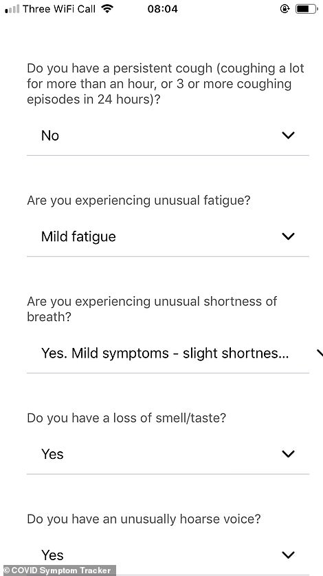The COVID Symptom Tracker works by taking people through a questionnaire about how they are feeling and whether they have the typical symptoms of coronavirus