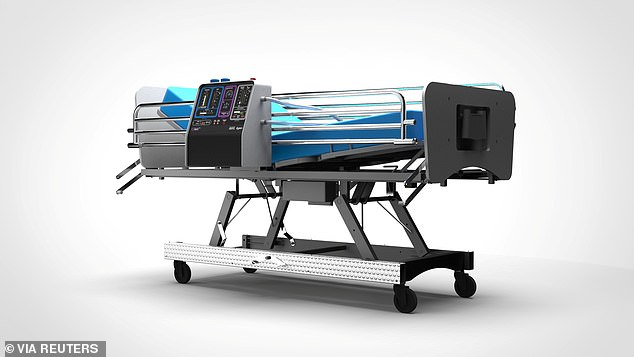 A graphic representation of the CoVent ventilator, designed by Dyson, is seen attached to a hospital bed. Efforts to get manufacturers to produce ventilators are underway