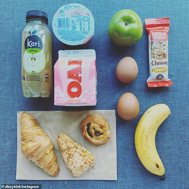 A traveller staying in the Crown Promenade in Melbourne has been making an online diary of her meals (pictured, a typical breakfast)