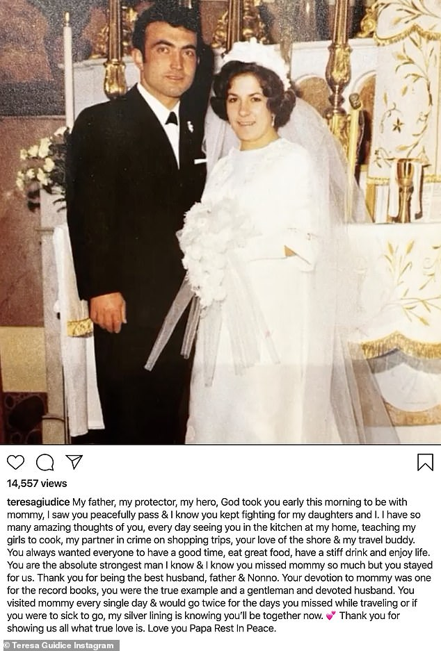The way they were: Teresa said now her father can join her mother, who passed away in 2017
