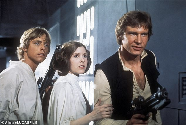 As they were: Mark, left, plays Luke Skywalker in 1977 alongside Carrie Fisher as Princess Leia and Harrison Ford as Hans Solo