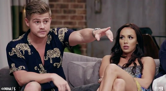 Drama: The 26-year-old said they ended their romance after Tuesday's reunion dinner party as Michael, 28, doubted her denial over sleeping with co-star Mikey Pembroke (pictured, left)