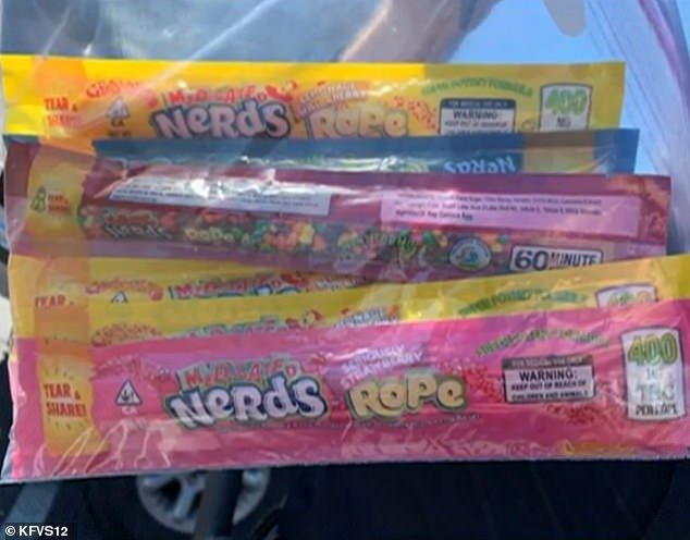 Two young girls ate THC-infused Medicated Nerds Ropes and were hospitalized after they got the medicated treats from a Utah church food distribution. Pictured are the medicated 'Nerds Ropes', that were eaten the children, ages 5 and 11, as well as three others, police say