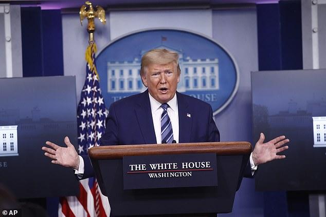 President Donald Trump speaks at a White House Coronavirus task force briefing on Sunday
