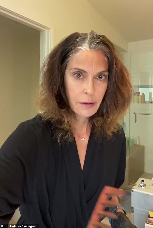 Cover up: Last week, the Desperate Housewives star dyed her gray hair and showed her followers the coloring process