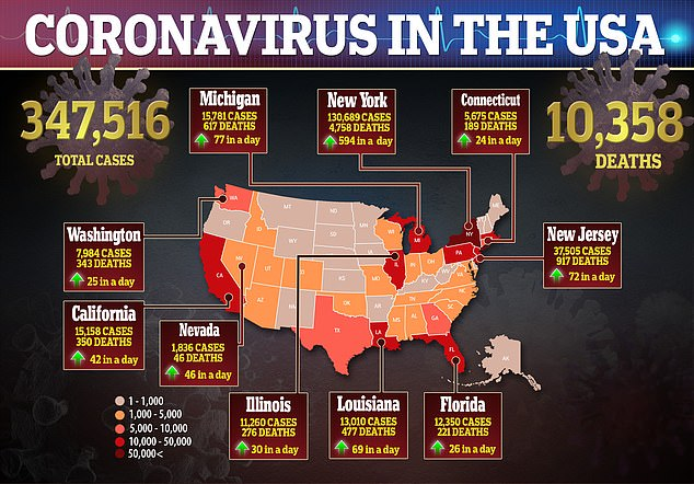 The above map shows the number of coronavirus cases and deaths in the US of Monday