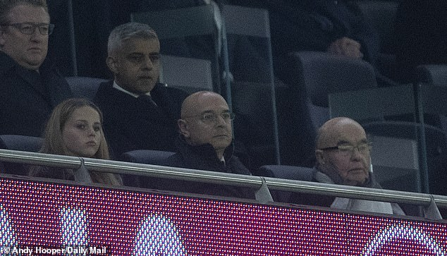 Tottenham owner Joe Lewis (right) sits with president Daniel Levy - Spurs was the second Premier League club to announce the layoff of non-player staff