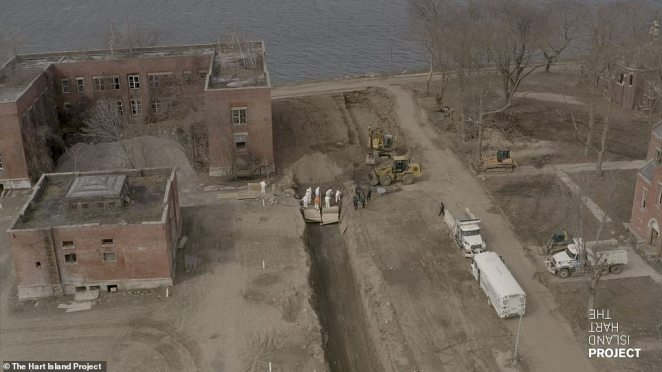 A wider view of the operation on Hart Island which has been used to bury unclaimed bodies in New York City for decades