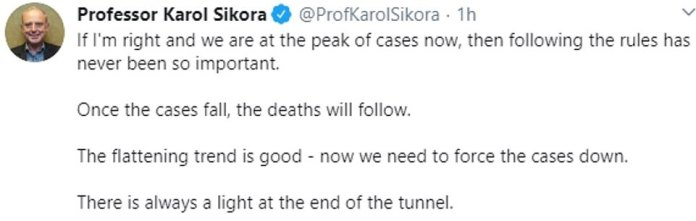 Former head of the WHO cancer program, Professor Karol Sikora, said that the UK has already reached its peak and that infections are steadily decreasing. He warned that deaths would take some time to follow due to delay in recording deaths