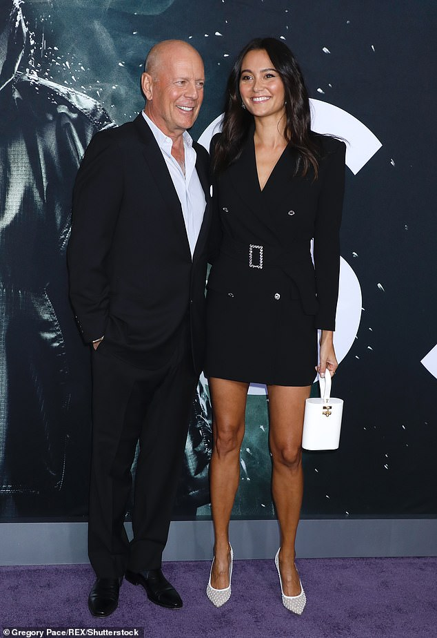 Happy couple: Bruce is seen with his wife Emma Heming in January 2019 at the premiere of Glass in New York - she has not yet been photographed at Demi's