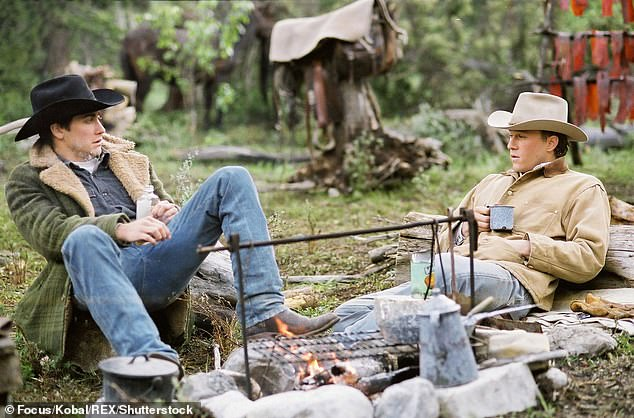 Wild west: Gyllenhaal and Ledger played Jack Twist and Ennis Del Mar in the film, which follows the unexpected romance between two men in the American West