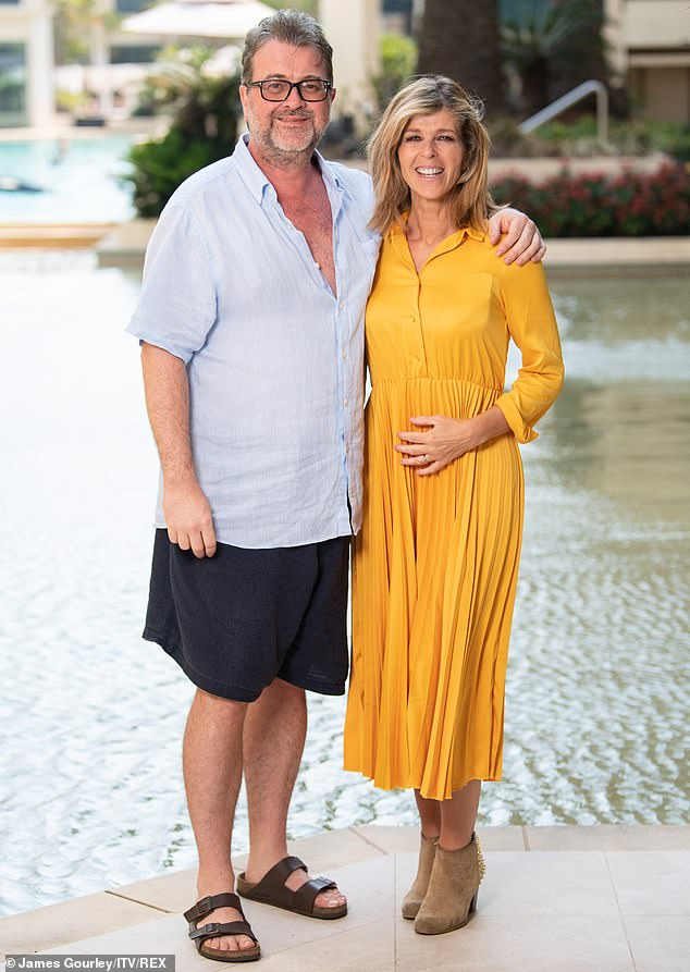 Heartbreaking: Kate, 52, has been left 'sick with worry' after her husband was rushed to hospital on Monday where he was tested positive for the virus (pictured in December 2019)
