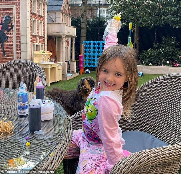Adorable: Sophia, who has been busy cooking and using tie dye, told MailOnline that even though she likes being at home with mom and dad, she also misses her friends