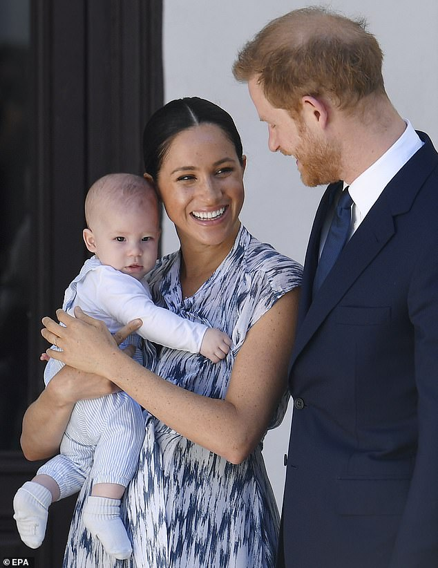 The foundation was revealed by chance just hours after fans went on Twitter to launch the hashtag `` ArchieDay '' to celebrate the couple's son's first birthday, Archie Harrison Mountbatten-Windsor, with a global campaign to collect funds for `` vulnerable children affected by the coronavirus ''. Pictured: Sussex in South Africa last year