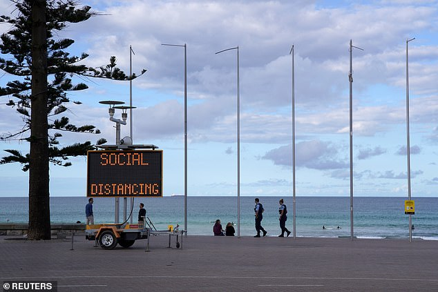 Health experts have attributed the stabilization of infections to measures such as strict border restrictions, self-isolation rules and social distancing. The manly beach of Sydney is represented
