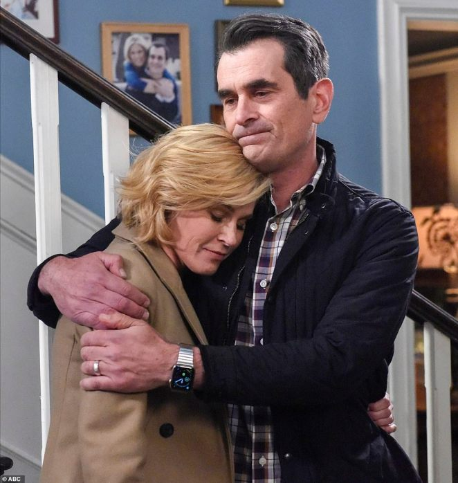 Series finale: Julie Bowen who played Claire Dunphy and Ty Burrell who portrayed her husband Phil Dunphy hugged during the series finale Wednesday of Modern Family on ABC