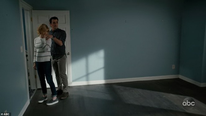 Empty room: Claire and Phil got emotional as they stood in an empty room of their house