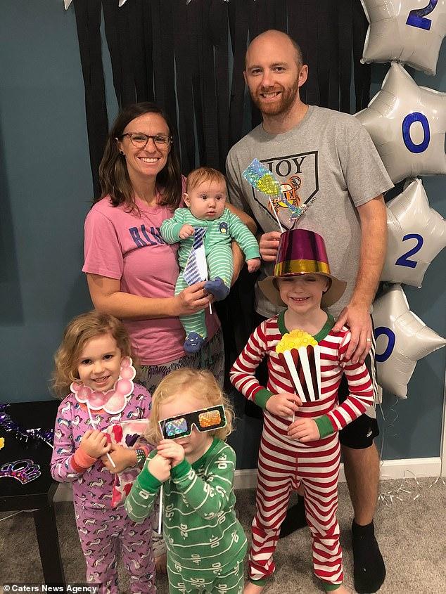Brittany Noschese, 29, from Maryland, holding Crew, seven months, with husband Zane, 31, Jett, six, Ella, five, Nash, three