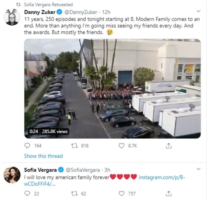 Farewell: American television writer and producer Danny Zuker shared this sweet message as the show came to a close, a sentiment that was echoed by cast member Sofia Vergara