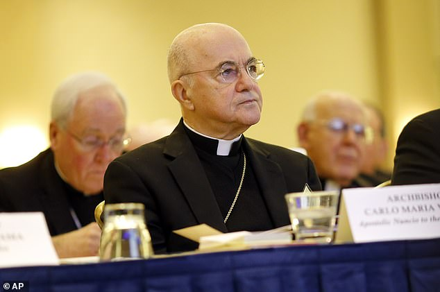 Archbishop Carlo Maria Vigano listening to remarks at the US Conference of Catholic Bishops' annual fall meeting in Baltimore in 2015 when he wasApostolic Nuncio to the US