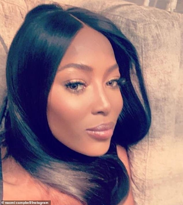 Fashion: Naomi Campbell, 49, has revealed she is staying glamorous during her time in lockdown and is wearing some of Elizabeth Taylor's kaftans around her house