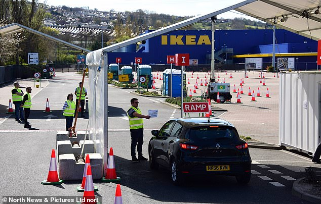 The IKEA store in Gateshead, where a coronavirus testing site for NHS staff has been set up in the store parking lot, with IKEA saying