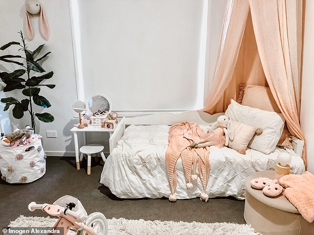 'It's easy to make things look expensive if you style a room well and mix a few higher-end pieces with the majority that is slightly cheaper,' Imogen said (one of her kids' bedrooms pictured)