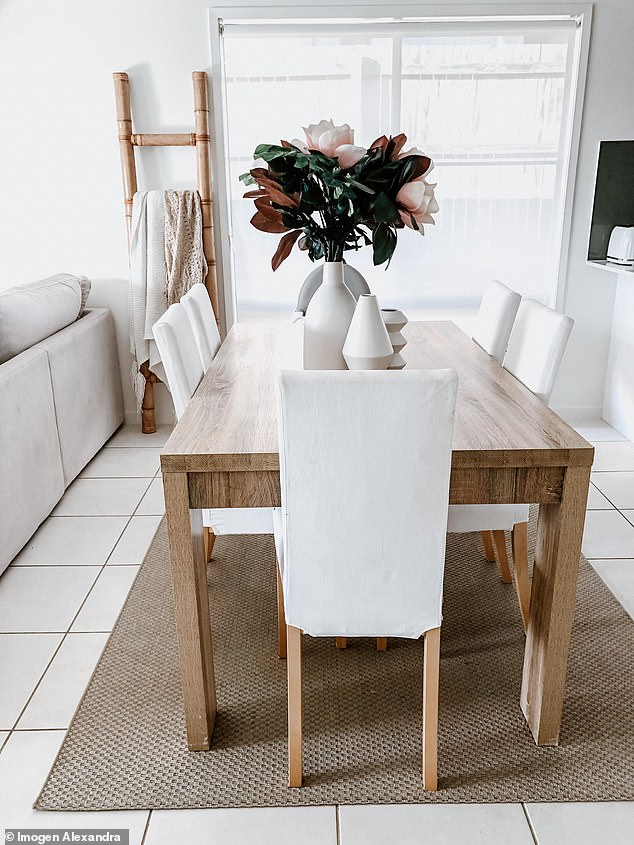 'I have a light-coloured couch that is washable, along with white dining chairs and plenty of pastel. It truly has been a lifesaver!' Imogen said (dining chairs pictured)