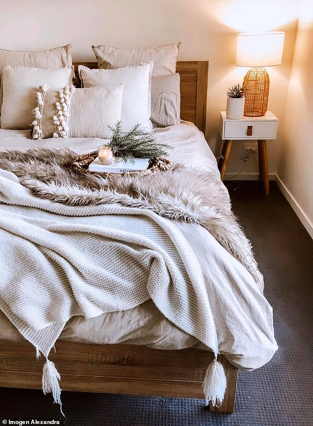 Imogen Alexandra , 23, from the Gold Coast, said while medicine is her trade, she has always had a love for interior design (her bedroom pictured)