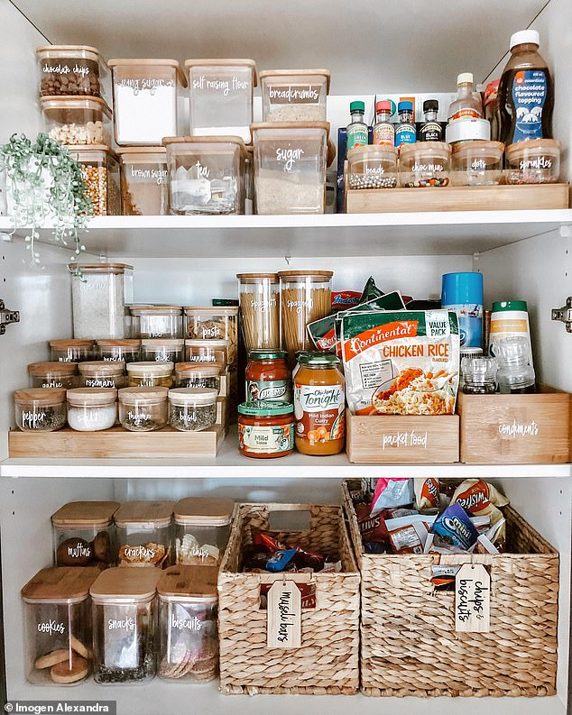 One of her favourite places that she organised recently is her pantry (pictured), which is full of Kmart containers labelled so she knows how much food she has and when it goes off