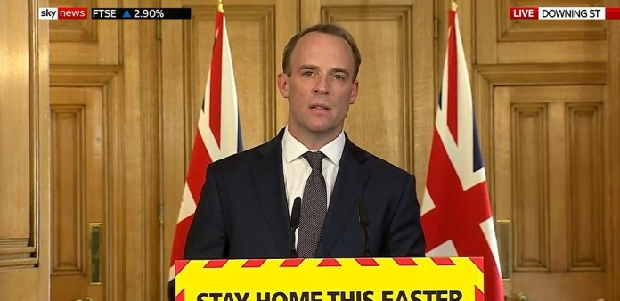 Mr. Raab, the Minister of Foreign Affairs and First Secretary of State, started the daily press conference by saying: