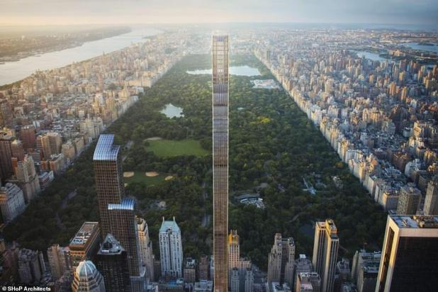 The 91-story, 1,420-foot-high 111 West 57th Street skyscraper that reaches nearly a quarter of a mile into the sky and is scheduled to open later this year
