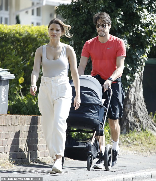 Radiant: Chloé Lewis took some time out of her house limits on Saturday as she enjoyed a discreet walk with her boyfriend Danny Flasher and their son Beau
