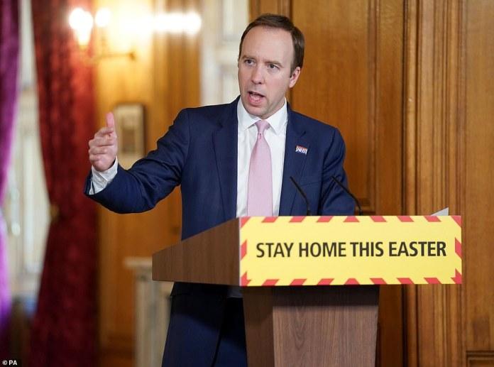 Health Secretary Matt Hancock (photo) told the BBC Breakfast today that 19