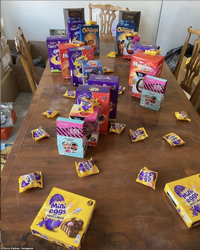 Chocolate Festival: Kerry Katona, 9, revealed the huge amount of chocolate treats waiting for her children on the dining room table