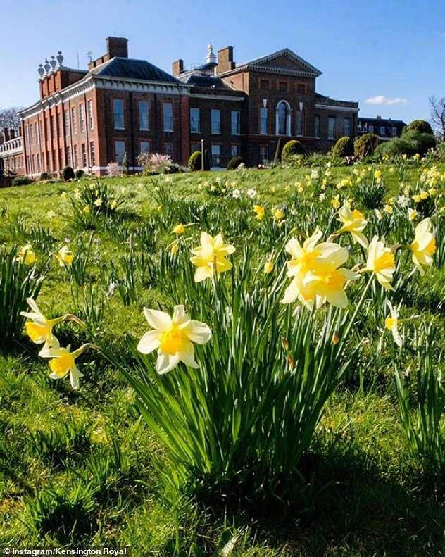 Easter greetings: Prince William and Kate Middleton took their Instagram account and posted a flower scene outside Kensington Palace on Easter Sunday
