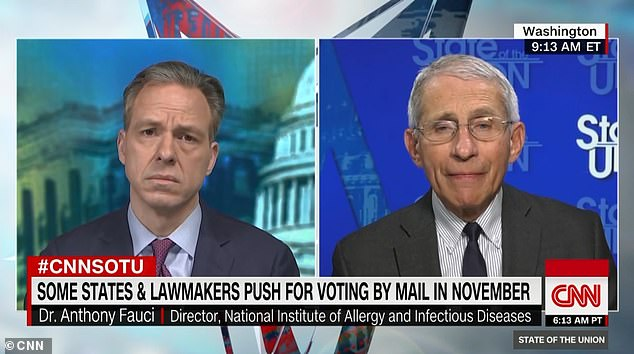 Fauci (right, on CNN's State of the Union) said that more could have been done that would have potentially slowed the spread and softened the ramifications of the coronavirus epidemic in the United States.
