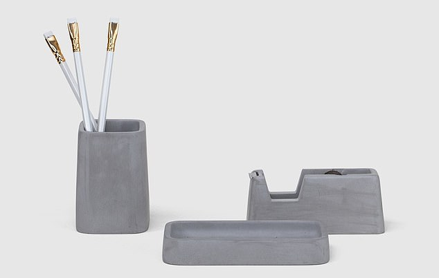 The Organised Desk Concrete Desk Set (pictured) could be bought and used to keep pens and other smaller items tidy
