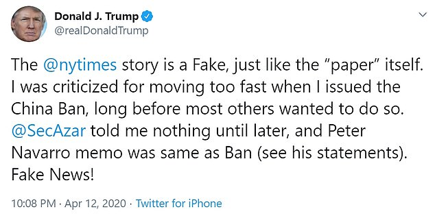 Trump also said he was `` criticized for going too fast when I issued the ban on China, long before most others wanted it to be. ''