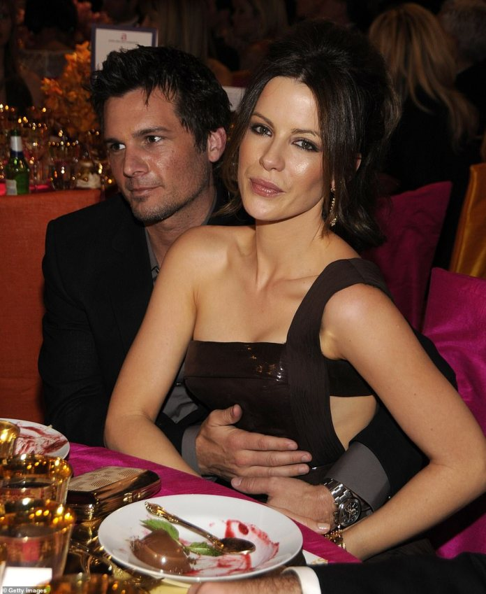 Happier moments: she was married to director Len Wiseman, photographed in 2008, for 12 years