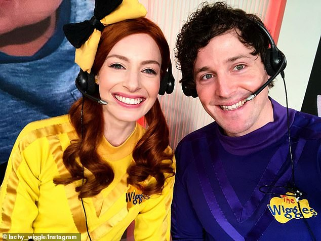 Keeping it in the band: Prior to dating Oliver, Emma was married to Purple Wiggle Lachlan Gillespie (right), who she met when they became permanent cast members in 2012