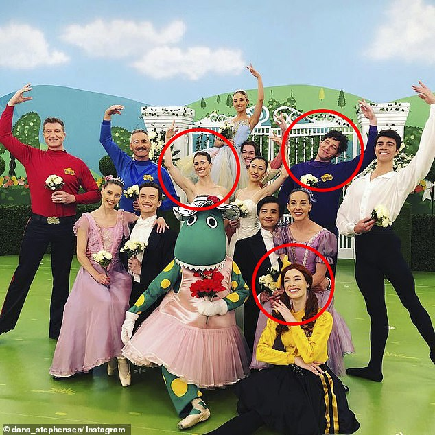 Bizarre: Lachlan (circled, right) and Emma (circled, bottom) both met Dana (circled, centre) together when the brunette filmed an episode of The Wiggles, months after they split