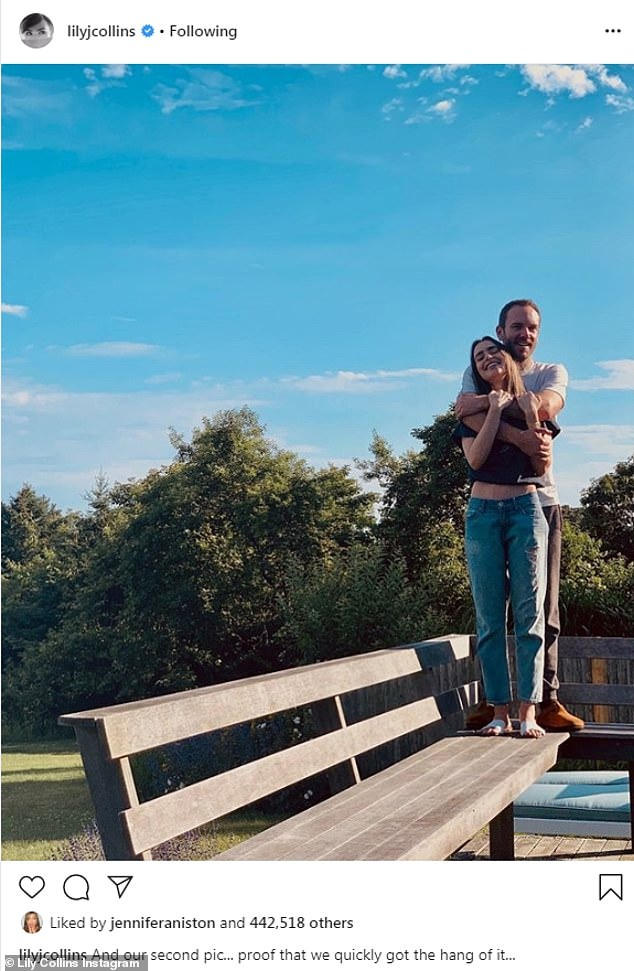 Romance:She also to took to Instagram with another shot of herself and the filmmaker, posed standing atop a wooden bench as he embraced her