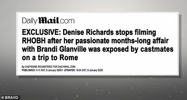 Reportage exclusif: Kyle a ensuite été montré en train d'appeler Lisa et de lui demander si elle avait vu tous les gros titres comme une exclusivité DailyMail.com a été montrée à propos de Denise arrêtant le tournage après que sa liaison passionnante de plusieurs mois avec Brandi Glanville ait été exposée par des acteurs lors d'un voyage à Rome