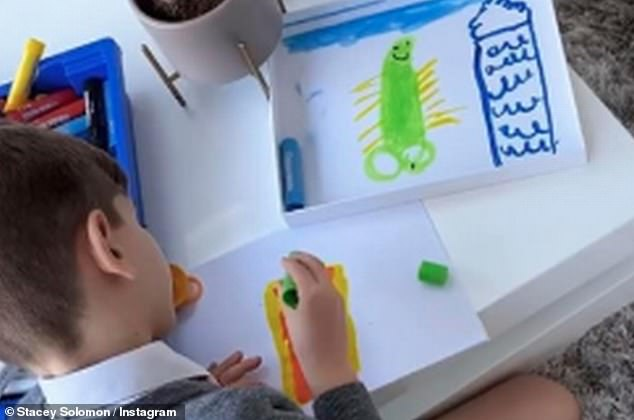 Ooh uh! Aside from little Rex, fans have been hysterical at the sight of a drawing on his wall - which was drawn by Leighton last month
