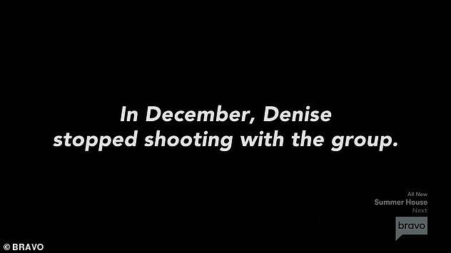 Arrêt du tournage: une carte de titre indique que Denise a arrêté de tourner en décembre avec le groupe