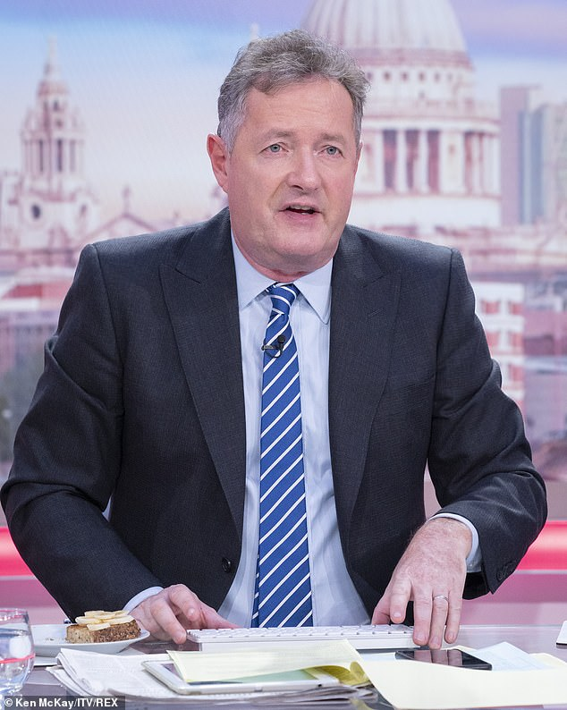Not amused: Piers Morgan hit Sam after the message for their `` b ****** t '' looking for celebrities during the coronavirus crisis and told them to `` take control '' (photo in March)