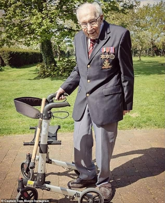 Hero: The singer has been compared to the captain of the Second World War, Captain Tom, 99, who collected 14 million pounds sterling for the NHS by covering 100 laps of his garden.